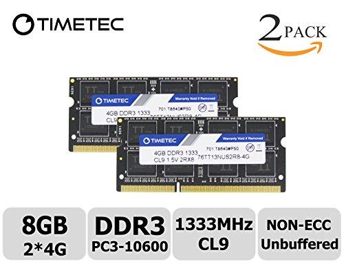 Timetec Hynix IC 8GB Kit (2x4GB) DDR3 1333MHz PC3-10600 Non ECC Unbuffered 1.5V CL9 1Rx8 Single Rank 204 Pin SODIMM Laptop Notebook Computer Memory Ram Module Upgrade(High Density 8GB Kit (2x4GB)) (Sodimm Memory Notebook)