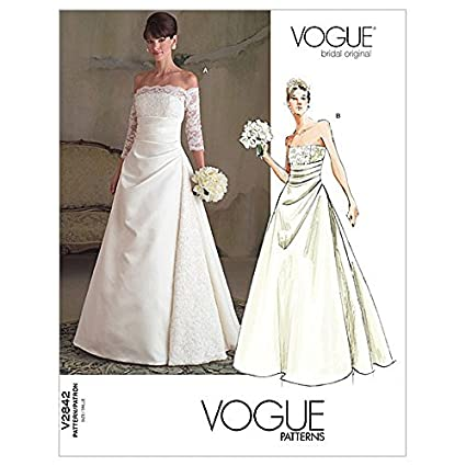 Amazon Vogue Ladies Sewing Pattern 2842 Bridal Off Shoulder