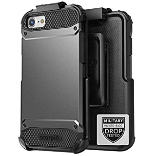 """Encased iPhone 7 Plus Belt Case Black - Gray Military Spec Ultra Tough Protection w/Holster Combo for Apple iPhone 7 Plus 5.5"""" (Scorpio Series)"""