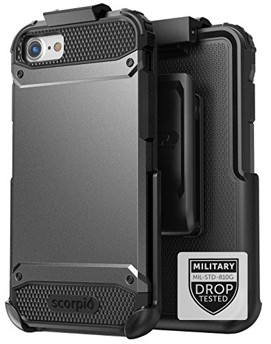 Encased iPhone 7 Plus Belt Case Black - Gray Military Spec Ultra Tough Protection w/Holster Combo for Apple iPhone 7 Plus 5.5 (Scorpio Series)