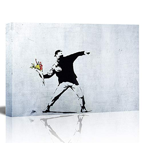 (EZON-CH Canvas Prints Wall Art - WallPictures Paintings - Rage The Flower Thrower - Street Art - Guerilla - Banksy Street Artwork on Canvas Stretched Gallery Wrap - 24
