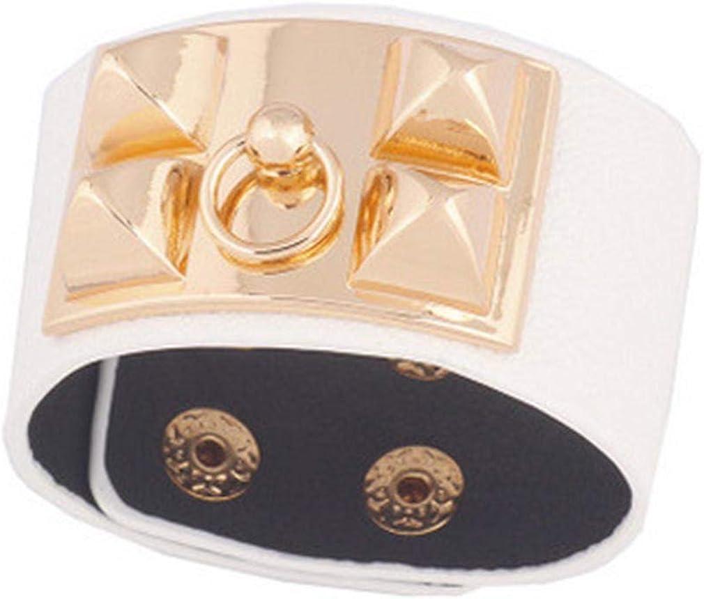 Yazilind Large Manchette en Cuir Artificiel Bracelet Wrap Rivet Punk 20cm 7.8 Pouces Longueur