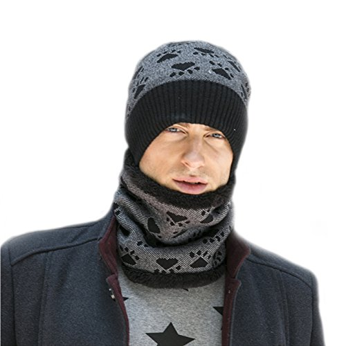 sombrero terciopelo bufanda hombres caluroso BaronHong de diario negro cráneo sombrero imprime invierno vtpqvn1Y