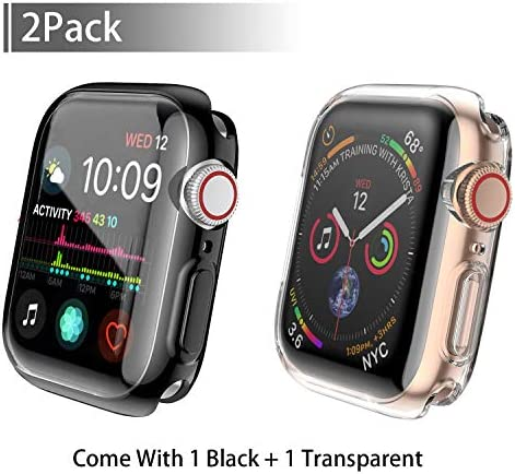 [2-Pack] Julk Case for Apple Watch Series 5 / Series 4 Screen Protector 44mm, 2019 New iWatch Overall Protective Case TPU HD Ultra-Thin Cover for Series 5/4 (1 Black+1 Transparent) 1