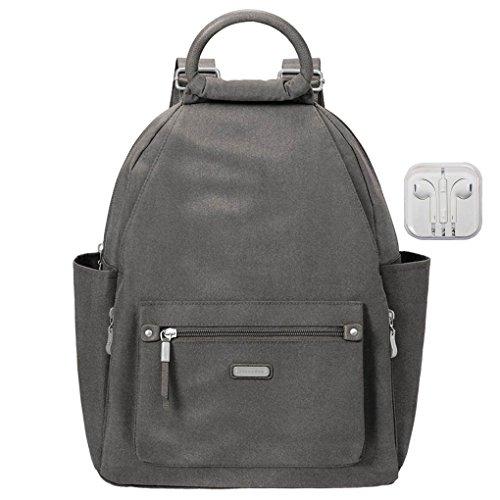 Baggallini All Day Backpack, RFID Phone Wristlet, Travel Earphones Bundle (Sterling Shimmer)