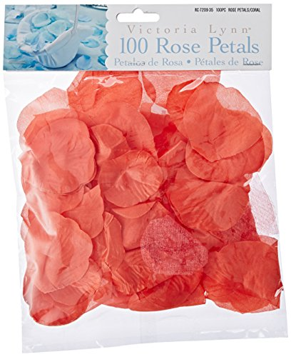 Darice RC-7209-35 Decorative Satin Rose Petals, Coral,
