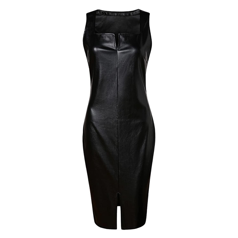 Tinksky Damen Lederkleid Sexy Kleid mit V-Ausschnitt Ärmellos ...