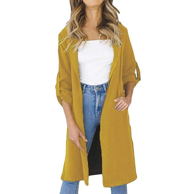 Chaquetas para Mujer otoño Primavera Moda PAOLIAN Casual Chaquetas Elegante Blusas Largas Anchas Señora Amarillo Camisetas Fiesta Invierno Sólido Abrigo: ...