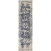 Safavieh Madison Collection MAD603D Cream and Navy Runner, 23 x 12