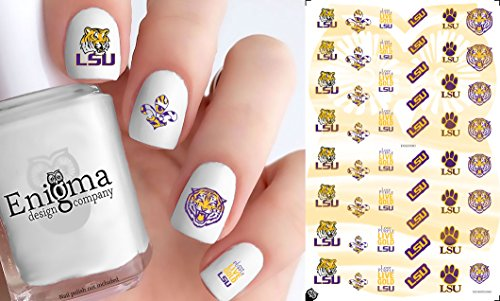 LSU Tigers Nail Decals (Set of 50) (Clear Water-slide)