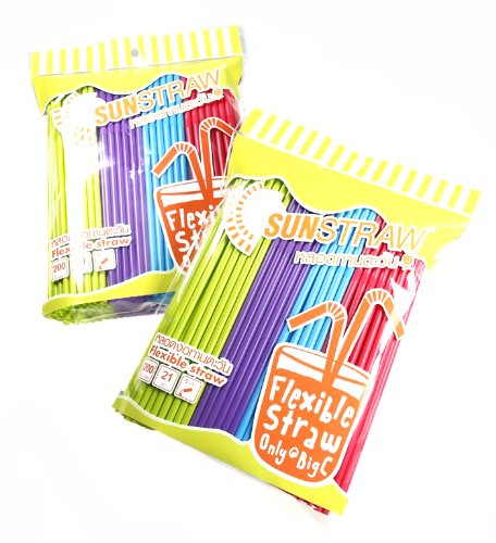 Flexible & Disposable Drinking Straws 200pc./pack (2packs)