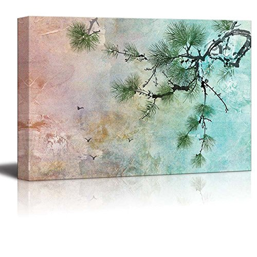 wall26 - Beautiful Watercolor Illustration of a Pine Tree and Birds in The Sky - Canvas Art Home Decor - 16x24 inches