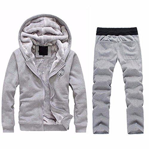 Dreamyth Sport Running Hoodie Mens Winter Warm Fleece Zipper Sweater Jacket Outwear Coat Top Pants Sets (Gray 72, M) (Coat Top Pants)