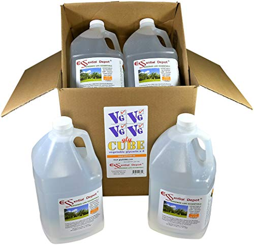 GlyCube - Vegetable Glycerin - Non GMO - RSPO - Sustainable Palm Based - USP - KOSHER - PURE - Pharmaceutical Grade - 4 separate Gallons (each Gallon is 10.75 lbs or 172oz net wt)