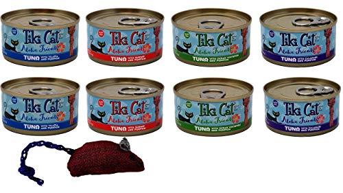 Tiki Cat Aloha Friends Grain Free Cat Food Tuna Pumpkin 4 Flavor Variety 8 Can Bundle with Toy, (2) Each: Tilapia, Shrimp, Ocean Whitefish, Calamari (3 ()