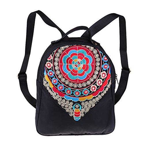 Backpack Flower Homyl Vintage Supplies Shoulder School Women 29x 32x 10cm Embroidery Bag Travel ECC1qxp