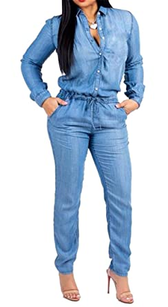 9e503f1b255e Fubotevic Women Washed Denim Drawstring Casual Long Sleeve Button up  Jumpsuit Romper Jeans Blue XXS