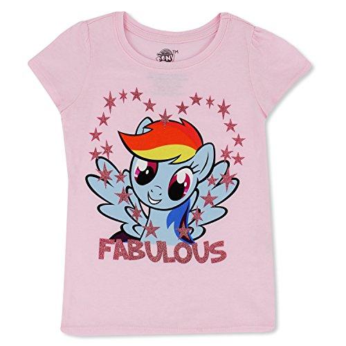 My Little Pony Girls T-Shirt - Hasbro MLP Girls Short Sleeve Puff Shirt - Rainbow Dash, Twilight Sparkle, Pinky Pie (Light Pink W/Stars, 2T) -