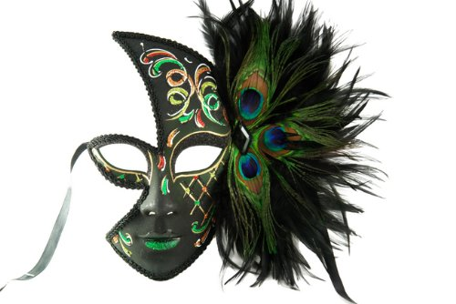 NEW Laser Cut Tribal Shaman Design Halloween Masks w/ Peacock Feather - Green by KBMasks (Peacock Eye Mask)