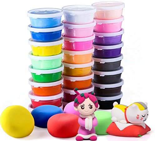 Air Dry Clay, 24 Colors Ultra Light Modeling Clay, iFergoo Magic Clay DIY Creative Modeling Dough with Modeling Clay (Dry Clay)