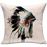 Indian Skull Stuffed Cushion ChezMax Cotton Linen Throw Pillow Square Insert For Seniors Bedroom Sofa Couch Rocking Chair Seat