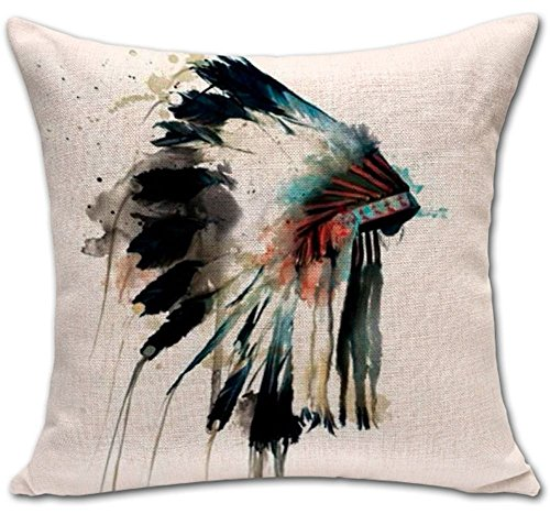ChezMax Indian Skull Stuffed Cushion Cotton Linen Throw Pill