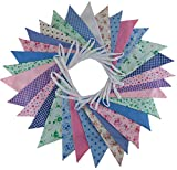 Floral Double Sided Fabric Bunting - 10m - 30 Flags Vintage Shabby Chic Party Banner