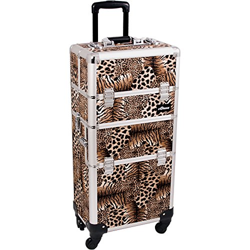 SUNRISE Makeup Case on Wheels 2 in 1 I3561 Hair Stylist Professional, 3 Trays and 1 Removable Tray, Locking with 2 Mirrors, Brush Holder and Shoulder Strap, Brown Leopard by SunRise