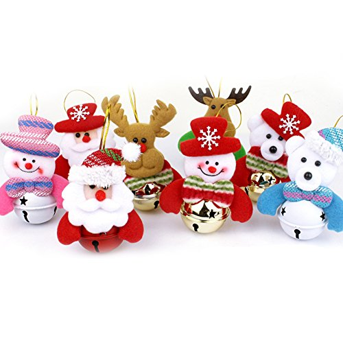 (Alodidae Christmas Tree Ornaments, Small Christmas Decorations for Home, Plush Hanging with Bells Decor for Xmas Tree, Santa/Snowman/Reindeer/Bear (8pcs))