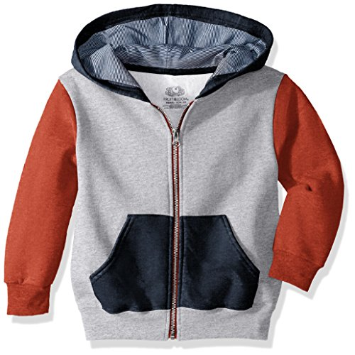Fruit of the Loom Boys' Big Fleece Full Zip Hoodie Sweatshirt, Athletic Mason Orange T.Blue Heather/Smoke Blue Stripe, 2X-Large
