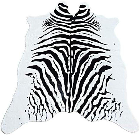 JACCAWS Faux Fur Zebra Hide Rug,4.6 x 6.6 Feet Zebra Skin Area Rug Large Size. 4.6 x6.6 , Zebra