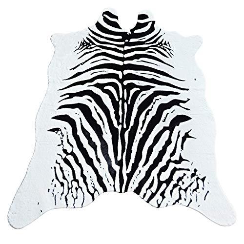 Fuax Fur Zebra Hide Rug,5x6.6 Feet Zebra Skin Area Rug Large Size. (5'x6.6', Zebra)