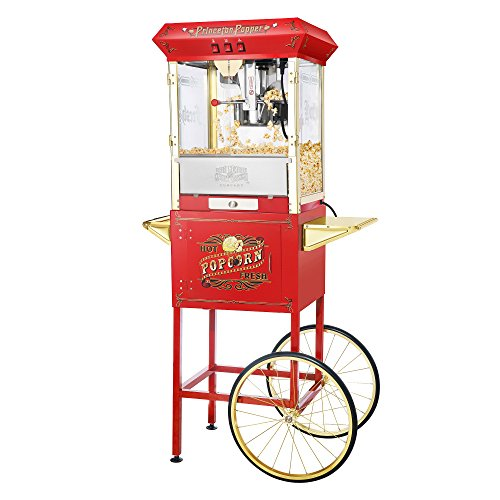 6030 Great Northern Red Antique Style 8oz Popcorn Popper Machine with Cart, 8 Ounce