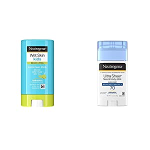 Neutrogena Wet Skin Kids Water Resistant Sunscreen Stick for Face and Body, SPF 70, 0.47 oz and Neutrogena Ultra Sheer Non-Greasy Sunscreen Stick for Face & Body, Broad Spectrum SPF 70, 1.5 oz