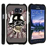 TurtleArmor ® | Samsung Galaxy S6 Active Case | G890 [Slim Duo] Slim Snap On 2 Piece Hard Cover Protector Rubberized Coat with Unique Designs on Black with Screen Protector - Motorbike Skull