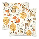 CHARMHOME Autumn Forest Funny Animal Thanksgiving Harvest 2-Pack Satin Pillow Covers Square Sofa Couch 16x16inch Pillowcase Brushed Microfiber Bedroom Cushion, Fall Forest Deer Fox