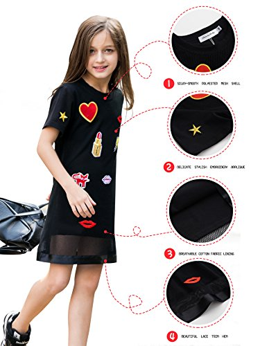 AuroraBaby-Little-Big-Girls-Casual-Dresses-Size-7-16-Cotton-Black-For-Party