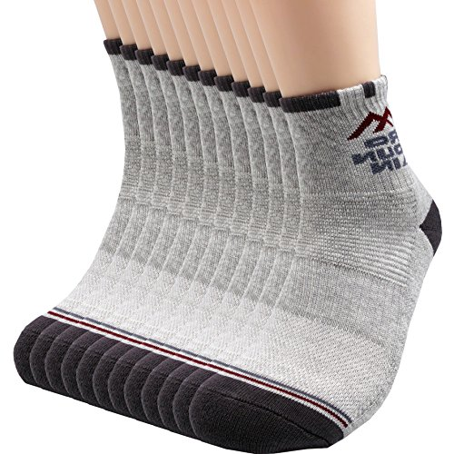 Socks Quarter Gray (Pro Mountain Cotton Quarter Ankle Cushion All Day Hiking Athletic Sports Socks (M(US Women Shoes 7.5~9.5=Men 6.5~8.5), Gray 12pairs Pack M-size))