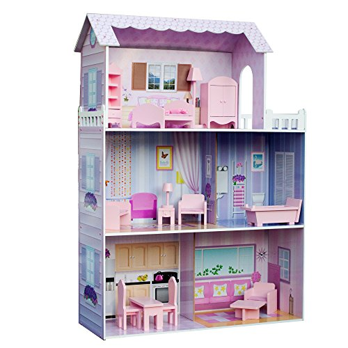 Kids Wooden Houses (Teamson Kids - Fancy Mansion Wooden Doll House with 13 pcs Furniture for 12 inch Dolls)