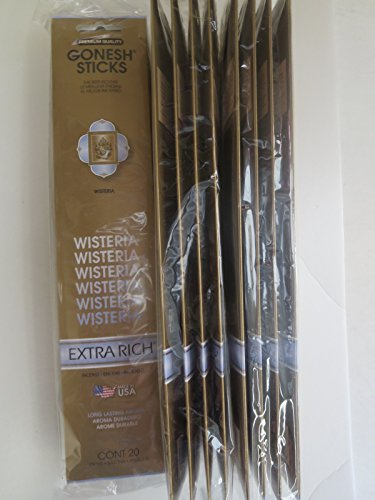 Gonesh Incense Sticks Extra Rich Collection: Wisteria 12 Pack (20 Sticks/pack) (Collection Wisteria)