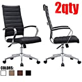 2xhome - Set of Two (2) - Black- Modern High Back Tall Ribbed PU Leather Swivel Tilt Adjustable Chair Designer Boss Executive Management Manager Office Conference Room Work Task Computer