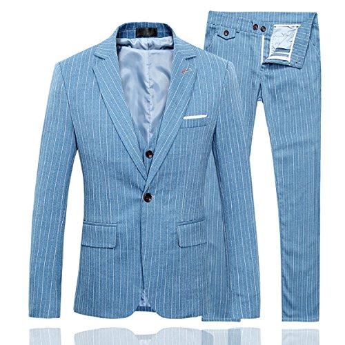 [Men's Plaid Center Vents One Button 3-Piece Suit Blazer Jacket Tux Vest & Trousers] (Tux Suit Jacket)