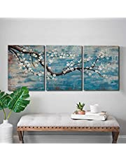 """3 Piece Wall Art Hand-Painted Framed Flower Oil Painting On Canvas Gallery Wrapped Modern Floral Artwork for Living Room Bedroom Décor Teal Blue Lake Ready to Hang 12""""x16""""x3 panel"""