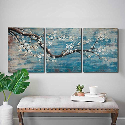 3 Piece Wall Art Hand-Painted Framed Flower Oil Painting On Canvas Gallery Wrapped Modern Floral Artwork for Living Room Bedroom Décor Teal Blue Lake Ready to Hang 12″x16″x3 panel