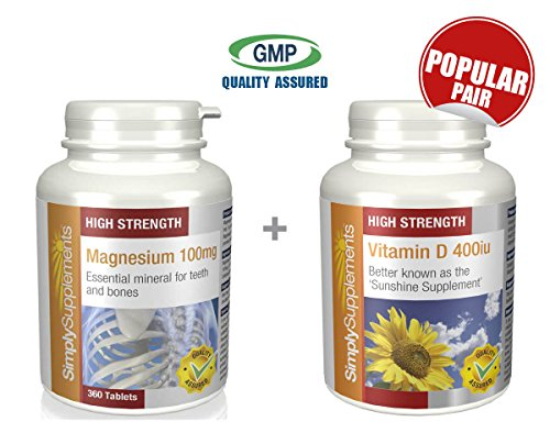 SimplySupplements Magnesium 100mg 360 Tablets + Vitamin D 400iu 360 Tablets by SimplySupplements by Simply Supplements
