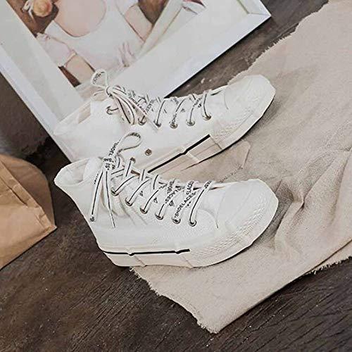 Chaussures De À Pu Pour En Lacets Printemps White Toile Femmes Talon Sport Plat Caoutchouc Dames Classiques qfqHrw