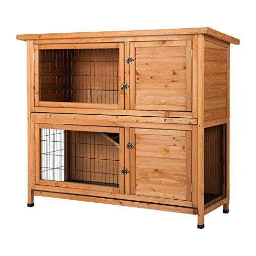 CO-Z 2 Story Outdoor Wooden Bunny Cage Rabbit Hutch Guinea Pig House in Nature Color with Ladder for Small Animals (Rabbit Hutch #1)