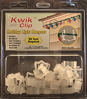 "Kwik Clip Holiday Christmas Light Hangers 1"" Fascia Boards Clip Made in the USA"
