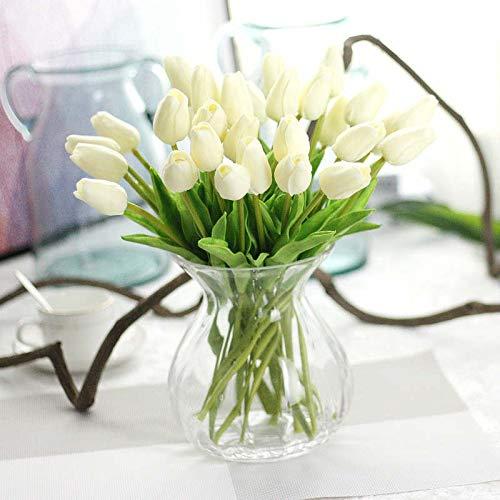 (Annibus Flower Tulip: Wedding Decorative PU Artificial Bouquet Real Touch Flowers Tulip Artificial Flower Famliy Christmas Decorative 21pcs/lot)