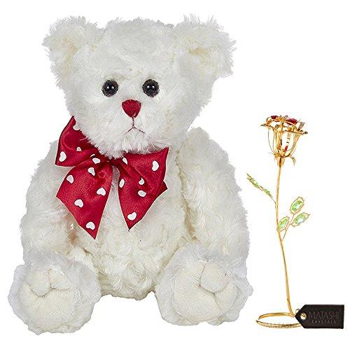Lovable Plush Bear - Matashi Rose Flower Gift Tabletop Ornament w Crystals, Elegant Craftsmanship; Bearington Lil' Lovable Plush Stuffed Animal Teddy Bear| Best Lovable Gift Flowers (Bear & Flower Set, Large, Gold)